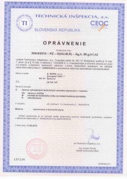 Certifikáty  S.WORK s.r.o.